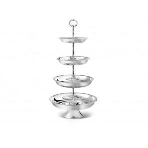 Porte-douceurs décor perles 4 niveaux arg