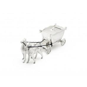 Tirelire Carosse avec 2 chevaux arg/laq